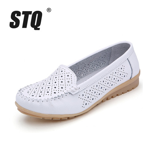STQ 2019 Spring women flats shoes women genuine leather shoes woman cutout loafers slip on ballet flats ballerines flats 169