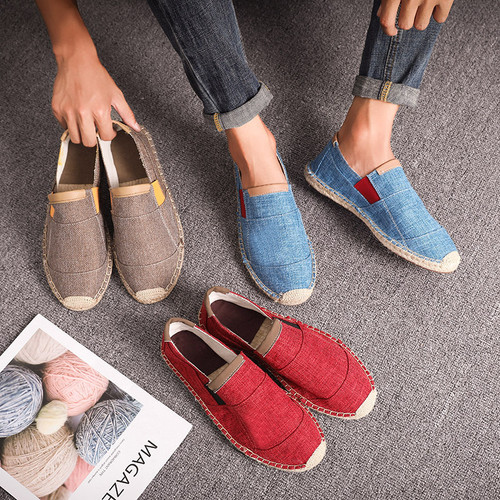 OUDINIAO Mens Shoes Casual Male Breathable Canvas Shoes Men Chinese Fashion 2018 Soft Slip On Espadrilles For Men Loafers
