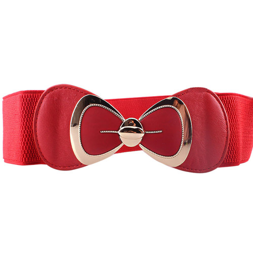 Women Fashion Bowknot Buckle Waistband Wide Elastic Stretch Waist Belt Amazing May 25