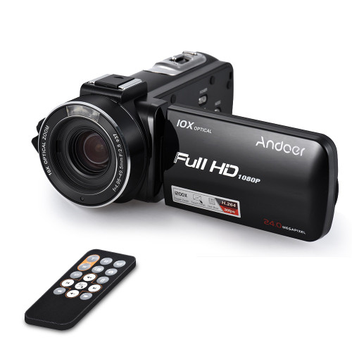 "Andoer HDV-Z82 3"" LCD Touchscreen Video Camera 1080P 24MP Digital Camcorder Remote Control Face Detect w/ Wide Angle Lens / Mic"