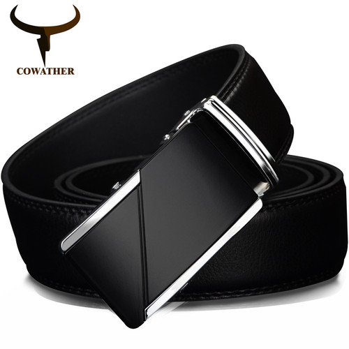 """COWATHER COW genuine Leather Belts for Men High Quality Male Brand Automatic Ratchet Buckle belt 1.25"""" 35mm Wide 110-130cm long"""