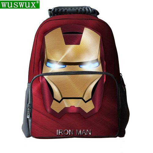 school bags new fashion iron Man printing school backpack unisex multi-function Large capacity schoolbag boys school backpacks