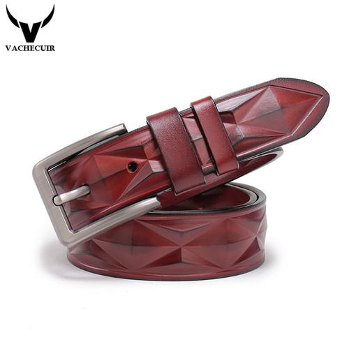 VACHECUIR Men's belts luxury designer High quality Genuine leather man belt Pure cowhide Diamond skin strap male Formal girdles