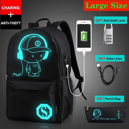 New Anti-thief Bag Luminous School Bags For Boys Girls Student School Backpack Mochila with USB Charging Port Lock Schoolbag