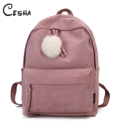 Fashion Fuzzy Ball Design Girl School Backpack High Quality Corduroy School Bag Pretty Style Students Durable Book Bag Satchel