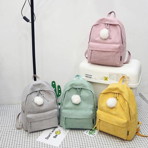 Fashion Fuzzy Ball Design Girl School Backpack High Quality Corduroy School Bag Pretty Style Students Durable Book Bag Satchel