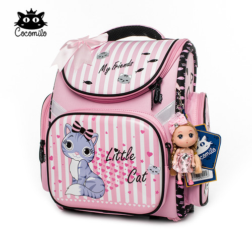 Cocomilo 2018 Children Backpack For Girls Cartoon Cat Pattern Backpacks Orthopedic School Bags Student Satchel Mochila Infantil