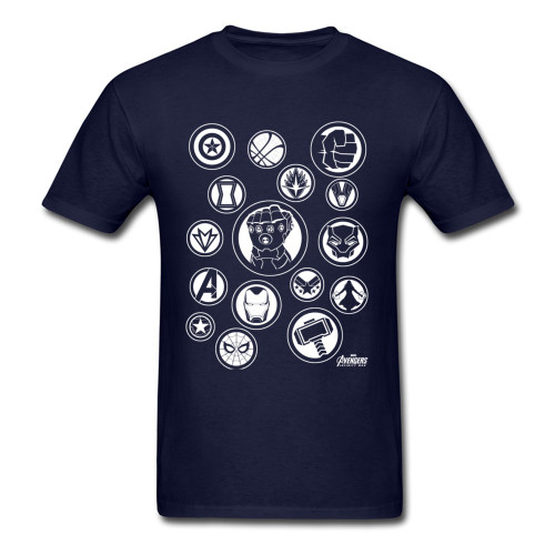 Infinity War Avengers T Shirt Marvel Powerful Tools Symbols Fight Men Black Tshirt Titan Thanos Power Stone T-Shirt Newest