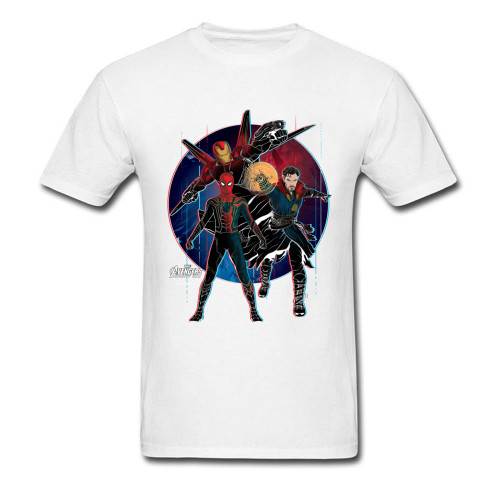 Strange Trio 2018 Mens Funny Clothing Marvel Spiderman Iron Man Printed T Shirts Vintage Comic Tee Shirt Birthday Gift