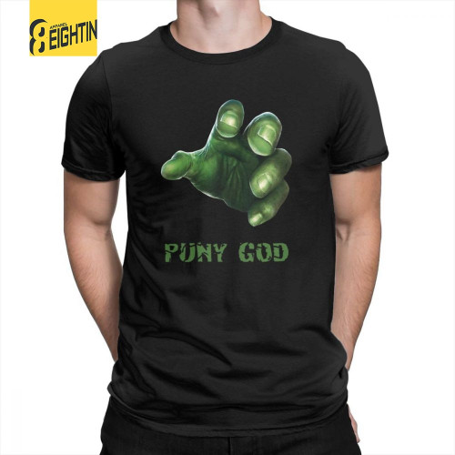 Hulk T-Shirts Puny God Short-Sleeve O-Neck Simple Super Hero Tees Purified Cotton Marvel Movie T Shirts Mens Elastic Large Size