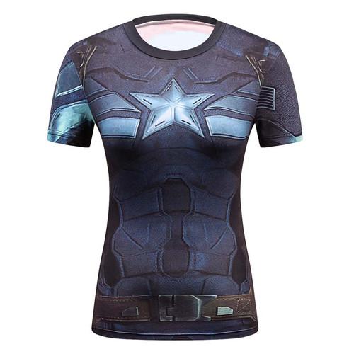 Captain America Ladies Comics Marvel Superman Batman/ Wonder Women's Compression Shirts Compression T Shirt Female Fitness Tight