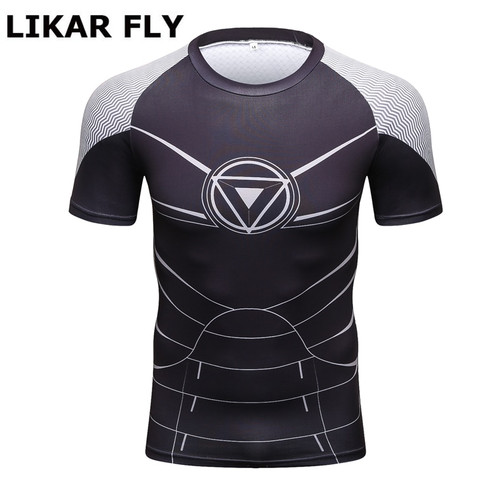New Design Marvel Iron Man Compression Shirt Fitness Tights T-shirt Crossfit Quick Dry Short Sleeve T shirt Summer Men Tee Tops