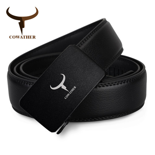 COWATHER 2017 Mens fashion 100% cow genuine leather belt automatic buckle luxury black male strap high quality free shipping