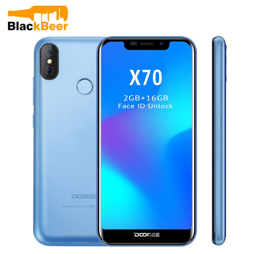 "Doogee X70 Mobile Phone Android 8.1 Smartphone MTK6580A Quad Core 2GB 16GB Dual Camera 5.99"" Full Screen Face ID 3G WCDMA Phone"