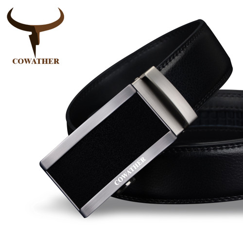 COWATHER 2017 top quality cow genuine fashion leather men belts for men automatic buckle strap cinto masculino