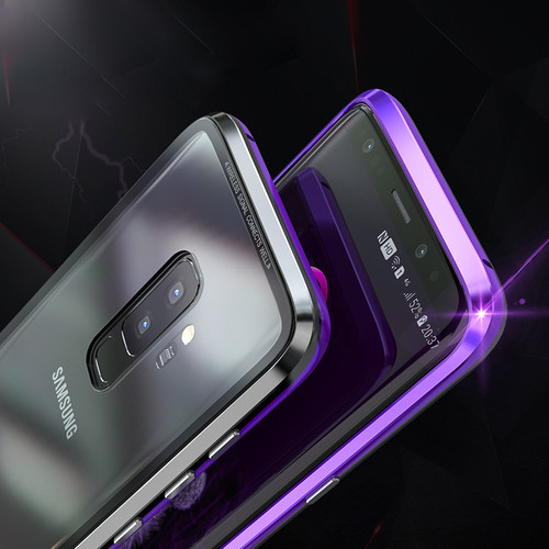 Metal Magnetic For Samsung Galaxy S9 Plus Case Luxury Anti-knock Frame Clear Tempered Glass Cover For Samsung S9 +Note9 S8 Case