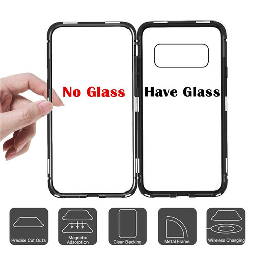 Transparent Tempered Glass Magnetic Flip Case For Samsung S9 S8 Plus S7 Edge Note8 9 Aluminum Metal Adsorption Phone Accessories