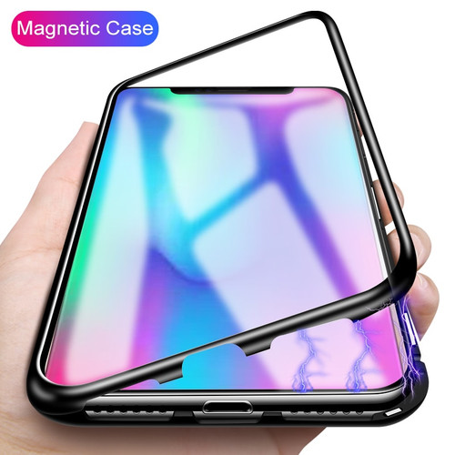 Magnetic Adsorption Metal Case For Huawei Mate 20 Pro P20 Lite Nova 3 3i Magneto Glass Case For Samsung Galaxy Note 9 S9 S8 Plus