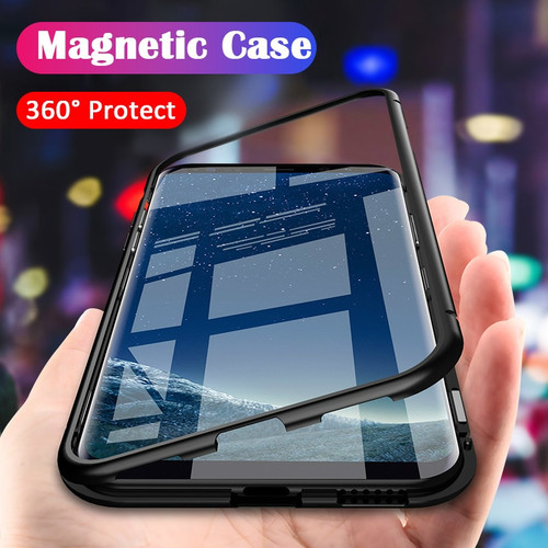 ProElite Metal Bumper Case for Samsung Galaxy Note 9 Note 8 Magnetic Adsorption Tempered Glass for Samsung S8 S9 Plus S7 Edge