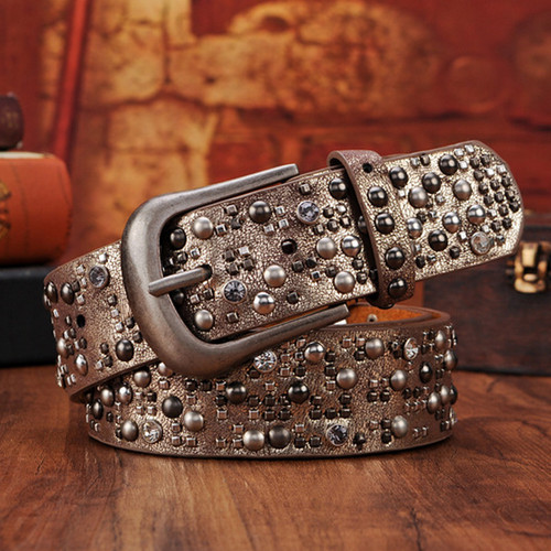 DINISITON Rivet Belt  Fashion Rhinestone Men&Women's Studded Belts High Quality Male Leather Rock Women Strap  Hip Hop CM002