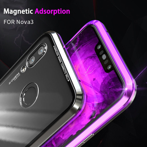 Magnetic Cover For Huawei P20 Lite Case Metal Aluminum Frame Clear Glass Magnet Hybrid Flip Case For Huawei P20lite Pro Funda