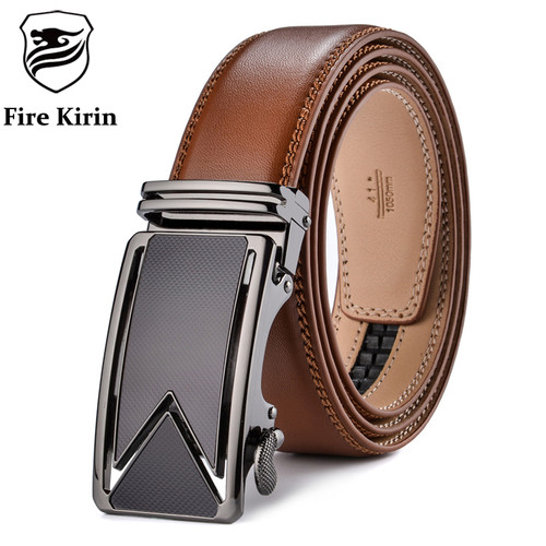 FIRE KIRIN Men Belt 2016 Cowhide Genuine Leather Belts For Men Luxury Automatic Buckle Belts Brown Black Cinturones Hombre B55