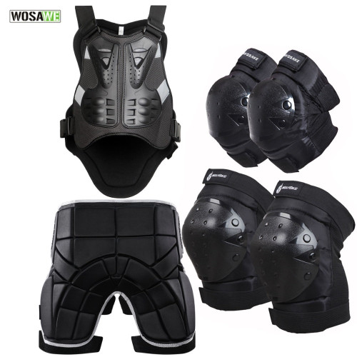 WOSAWE Motocross Armor Back Support Chest Protector Motorcycle Ski Skateboard Protection Jacket Knee Elbow Pad Hip Pad Butt Pad