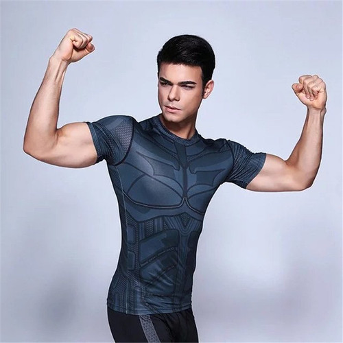 Marvelous Heroes Batman Spider-Man Superman Tight Men's Shirt Sports Fitness T-Shirt 3D Anime Character Costume