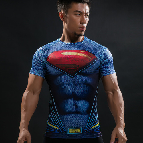 Batman VS Superman Running T Shirt 3D Printed T-shirts Men Short Raglan sleeve Fitness Cosplay Costume DC Film Slim Top Male