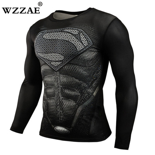 Superman Compression Shirts Men 3D Printed T-shirts Long Sleeve Cosplay Costume crossfit fitness Clothing Tops Male Black Friday