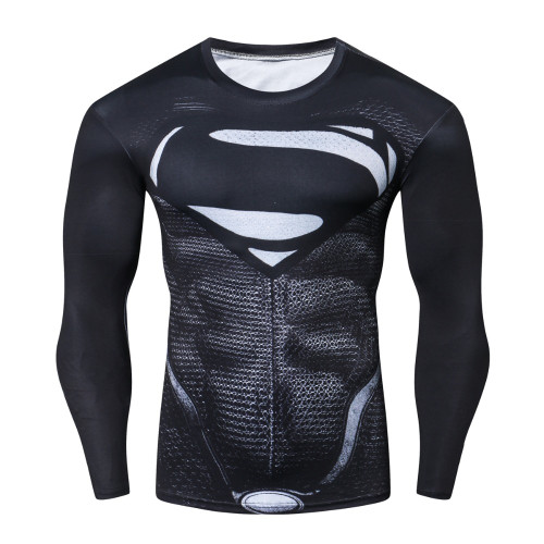 Superman 3D Printed T-shirts Men Compression Shirts Long Sleeve Funny Cosplay costume Fitness Body Building Male Crossfit Tops