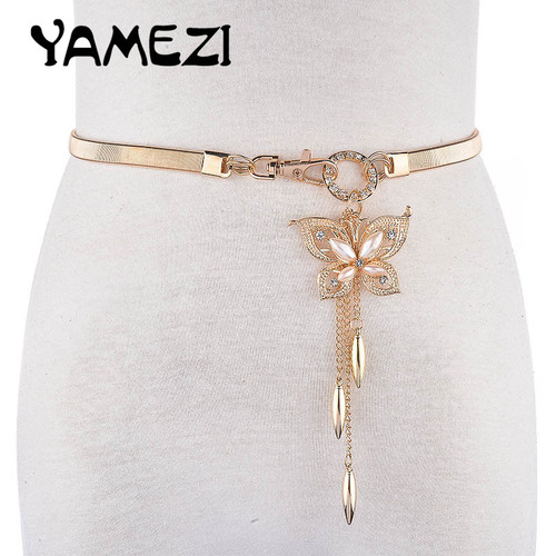 Women's Crystal Gold Belt Chain Elastic Stretch Metal Strap Silver Adjustable Luxury Chain Ceinture Waist Dress CM018
