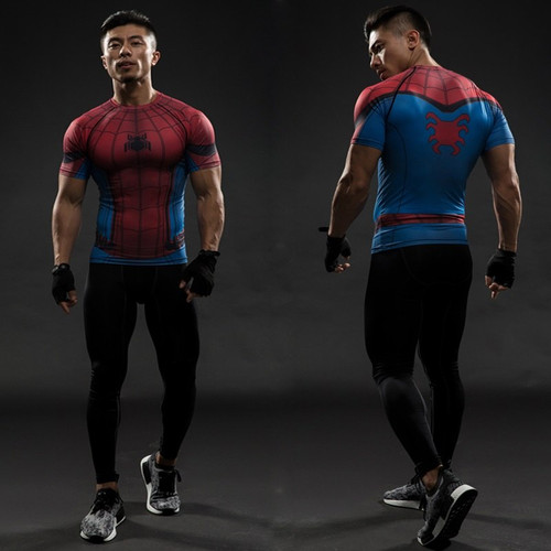 TUNSECHY fashion Spider Man Captain America 3D Digital printing T-shirts Men Fitness Clothing Male T Shirt Superman Costume