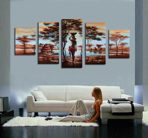 ree Oil Painting 5pcs On Canvas High Quality Nude Women Africa Country Modern Wall Picture For Living Room Abstract Home Decor