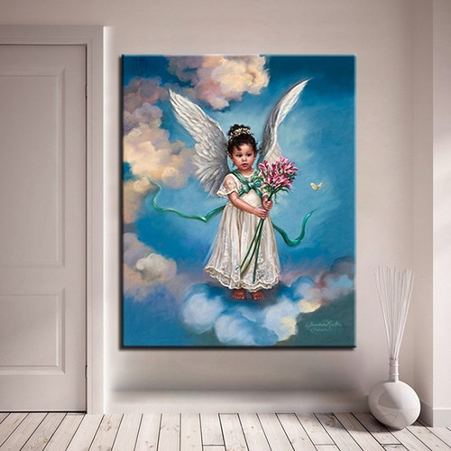 Framed DIY Oil Painting By Numbers Kit Hand Color Paint Little Angel Girl Canvas Figure Picture Unique Home Decor Wall Arts Gift