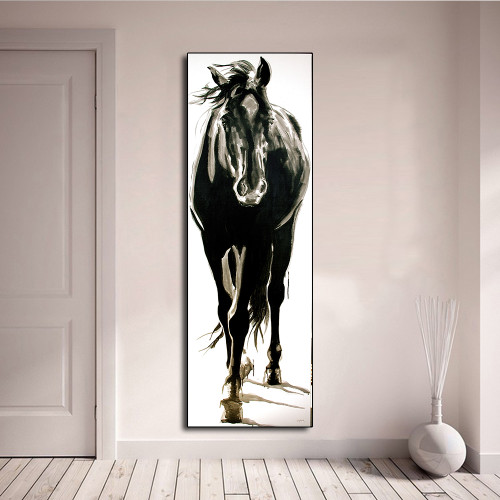 AAVV Posters and Prints Wall Art Animal Oil Painting Dog Canva Picture for Living Room Black and White Horse Home Decor No Frame
