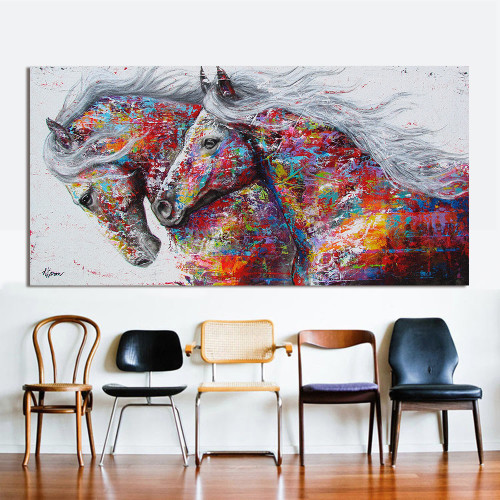 Oil Painting Animal Wall Art Pictures For Living Room Home Decor Canvas Painting The Two Running Horse No Frame