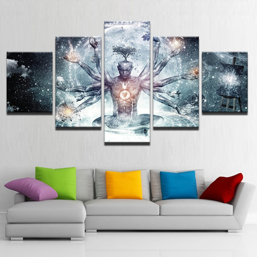 Modern Canvas HD Prints Pictures Wall Art 5 Pieces Buddha Art Yoga Painting Tree Abstract Meditation Poster Home Decor Framework