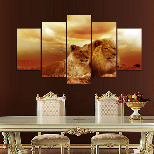 HD Printed Modular Abstract Pictures Frame Canvas 5 Panel Animal Lions Sunset Landscape Home Decor Wall Art Oil Painting PENGDA