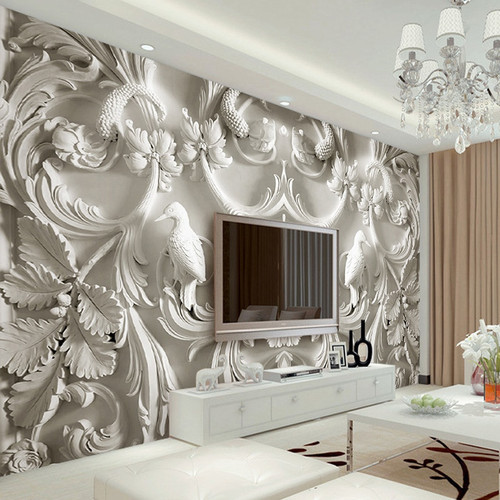 Custom Any Size Mural Wallpaper White Classic European Style Embossed 3D Stereo Living Room TV Background Wall Murals Wallpaper