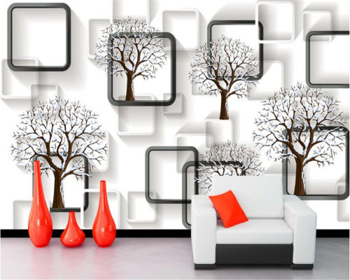 Beibehang Custom wallpaper black and white grid 3D tree stereo photo wallpaper mural home decoration background wall wallpapers