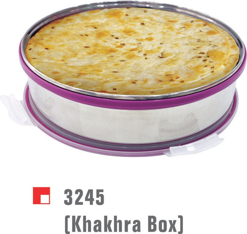 Steel Khakhra box with vacuum lid