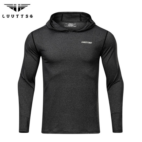 Men's Running T Shirt Long Sleeve Hooded Gym Fitness Hoodie Shirts Jogging Slim Dry Fit Breathable Crossfit Sport Sportswear