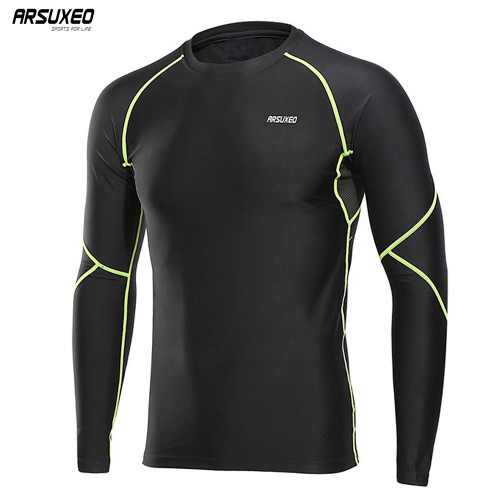 ARSUXEO 2018 Men's Winter Warm Up Fleece Compression Shirt Base Layer Running Long Sleeves Tights Workout GYM T Shirt U81S