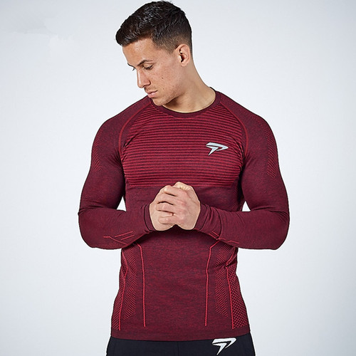 Men Compression Quick dry Long sleeve T-shirt Man Gym Fitness Training t shirt Male Run Jogging Sports Workout Tight Tees Tops