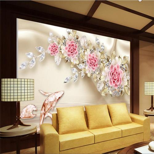 beibehang Custom Photo Wallpaper Mural 3D Relief Jewelry Rose Flower TV Wall Background papel de parede wallpaper for walls 3 d