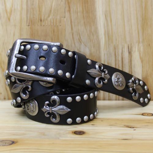 MEDYLA Top Layer Rivet Punk Male Belt Genuine Leather Belts Novelty Designed Personally Gift for Man Skull Decoration for Jeans