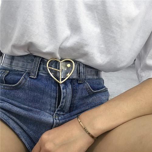 Preppy Style Women's Cute Transparent Belt Heart Buckle Waist Sweet Female Belt
