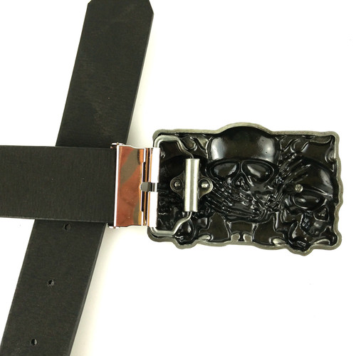 Ceinture Hombre Rock Punk Hebillas De Metal Skull Belt Buckle Accessories with PU Leather Belts Skull Head Buckles For Men Belts