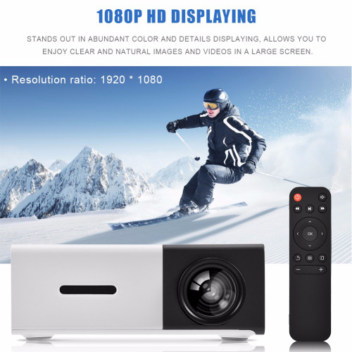 Mini Stylish Home Theater Portable LED Projector HD HDMI Multimedia Player US Plug Black White